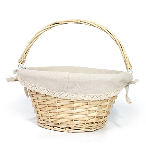 KRZIL Oypeip Wicker Basket Gift Baskets Empty Round Willow Woven Picnic Basket Easter Candy Basket Storage Basket Wine Basket with Handle Egg Gathering Wedding Basket (Nature)