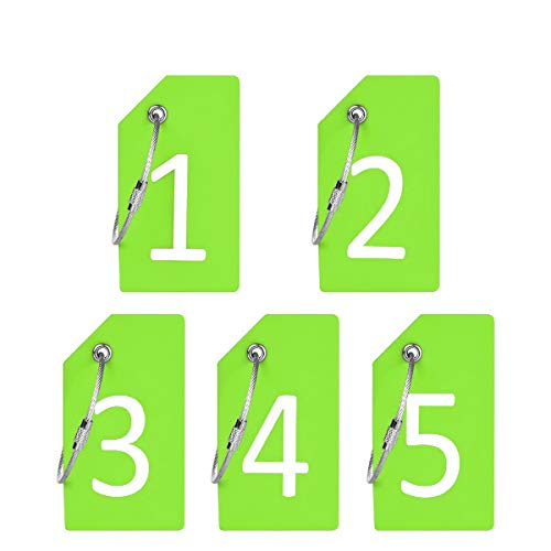 Silicone Luggage Tag with Name ID Card and Digit Number Showed 1-5 Green