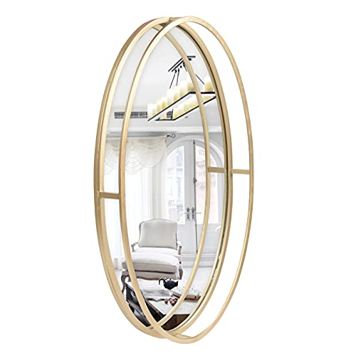 FUIN Decorative Wall Accent Mirror Oval Gold Metal Frame, for Bathroom