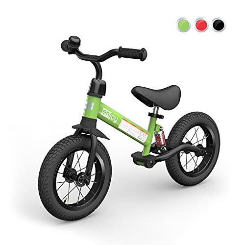 besrey Bicicleta sin Pedales Bicicleta niño 3-5 Años Rueda de Goma Inflable Bicicleta Sin Pedales con Amortiguador Central - Verde