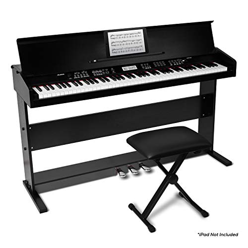 Alesis Virtue   88-Key Beginner Digital Piano with Full-Size Velocity-Sensitive Keys, Lesson Mode, Power Supply, Built-In Speakers, 360 Premium Voices...