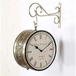 Crafts International Double Sided Railway Station/Platform Analog Wall Clock, Copper Antique