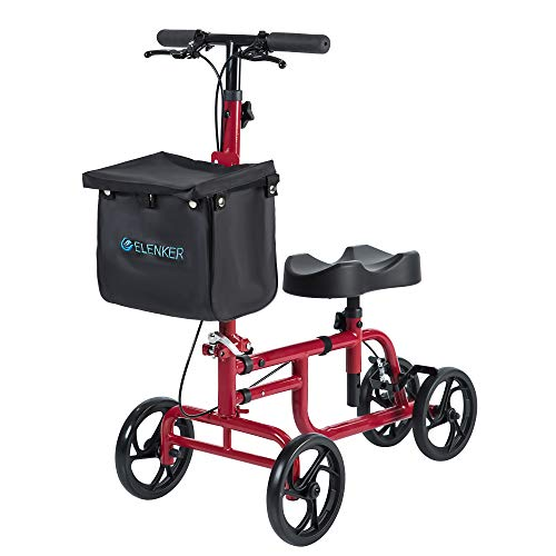 ELENKER Best Value Knee Walker Steerable Medical Scooter Crutch Alternative with Dual Braking System Red