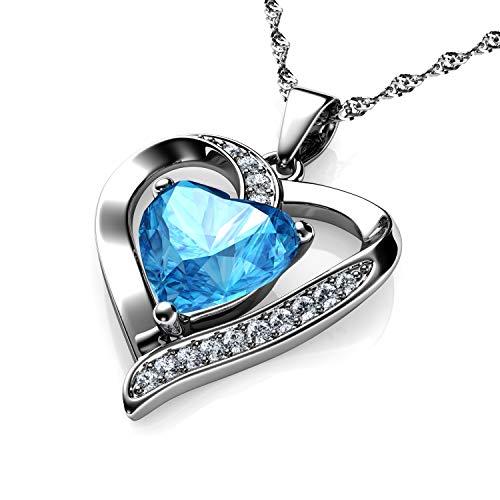 DEPHINI – Collana a forma di cuore in argento Sterling 925 – acquamarina impreziosita con ciondolo in cristallo CZ – Collana da donna in argento placcato al rodio 45,7 cm – Zirconia cubica A+
