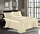 Satin Sheets King [4-Piece, Ivory] Hotel Luxury Silky Bed Sheets - Extra Soft 1800 Microfiber Sheet Set, Wrinkle, Fade, Stain Resistant - Deep Pocket Fitted Sheet, Flat Sheet, Pillow Cases