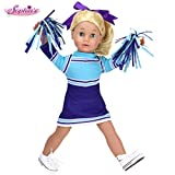 Sophia's Doll Clothes Cheerleading Set: Includes Silk Screen Purple & Aqua Cheer Doll Dress, Two Pom Poms and Hair Bow Sized for Popular 18 Inch American Dolls
