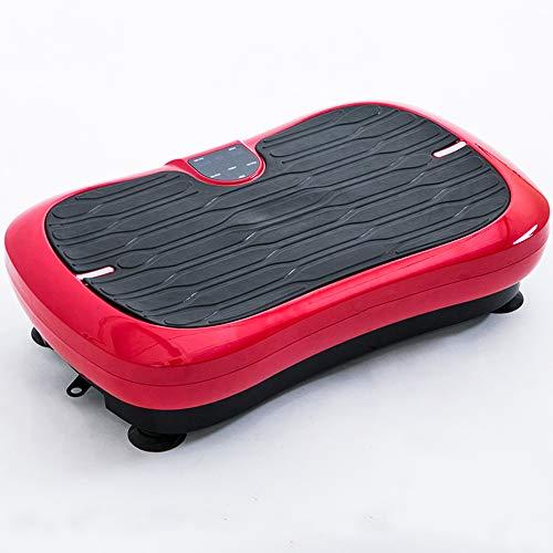 Vibración del cuerpo entero de la máquina, plataforma de vibración de fitness con control remoto bandas de control y resistencia a la vibración de la placa de Home Fitness y pérdida de peso,Rojo