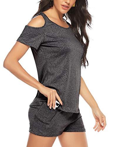 Aibrou Mujer Conjunto de ropa deportiva Secado rápido Top y pantalones cortos Chandal 2 piezas ropa de fitness para Gimnasio...