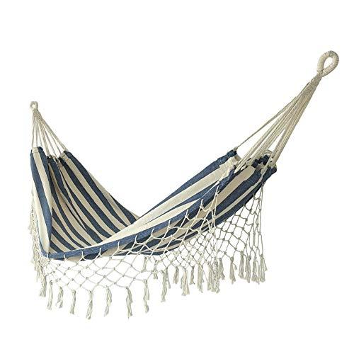 ZBF Espesar Lienzo Hamaca durmiendo Colgando Swing Swing Swing al Aire Libre Viaje Camping Borla Colgando Cama Plegable Doble jardín Hamaca