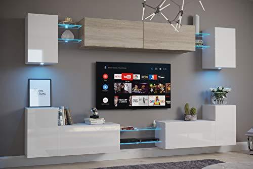 Furnitech Nairobi C1 Möbel Wohnzimmer Schrankwand Wohnwand Wandschrank Mediawand mit Led Beleuchtung (D40-HGM-SW13, LED RGB (16 Farben))