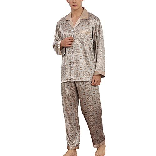 YZJYB Pijama Hombre Primavera Verano con Botones Manga Larga Conjunto Pantalones Largo 2 Piezas De Seda Bata Camisón Robe Lencería Cardigan Estar por Casa,Multi Colored,XXX~Large