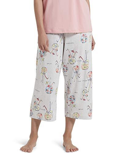 Calça de pijama capri feminina de malha estampada da Hue, Lunar Rock - Fishbowl Cocktail, Large