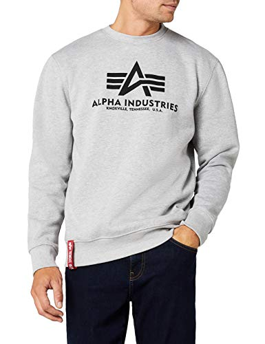 ALPHA INDUSTRIES Herren Basic Sweater Pullover, Grau (Grey Heather 17), X-Large