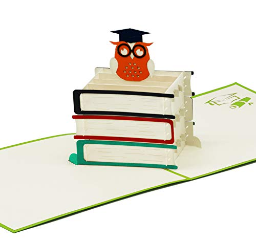 Fröhliche Karte für Abschluss & Prüfung - 3D Pop-Up Prüfungskarte mit schlauer Eule für Aufmunterung Glückwunsch Abi 2020 & Gratulation - hochwertige Klappkarte zum Studium Doktor Abitur 2020 & Examen