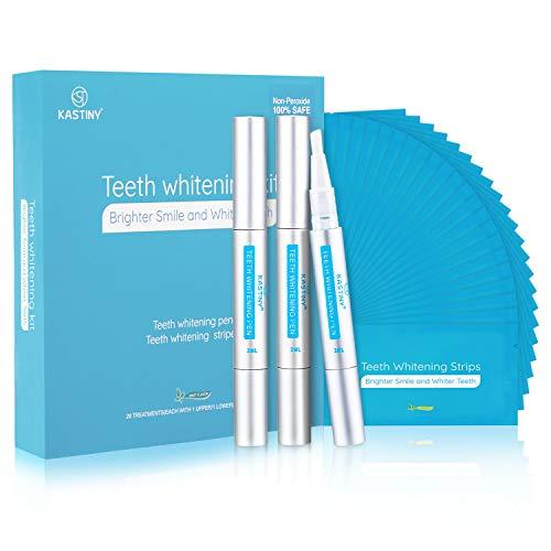 White Stripes, Kastiny 56PCS Zähne Bleaching Stripes und 3 Zahnaufhellung Stift, Nicht Empfindlich Teeth Whitening Kit mit Minzgeschmack, für Zahnweiß