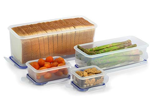 Airtight Bread Box and Lettuce Food Storage Container and Two Snack Containers, by Popit!