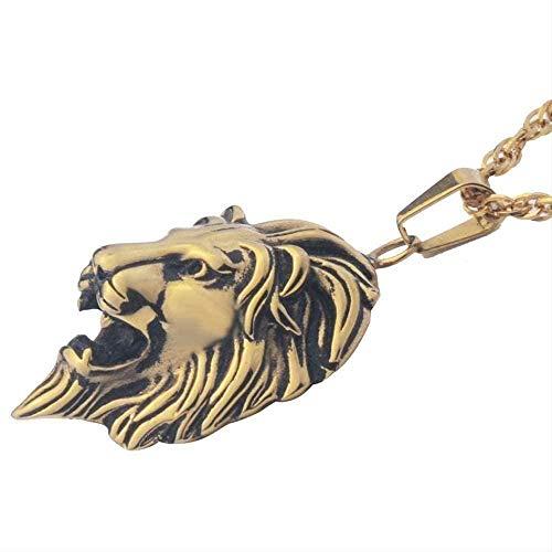 Collar con colgante de cabeza de león, collar de oro para hombre, collar de oro de fundición punk de acero inoxidable, joyería gótica para mujer, collar con colgante de cadena de 23 pulgadas, regalo p