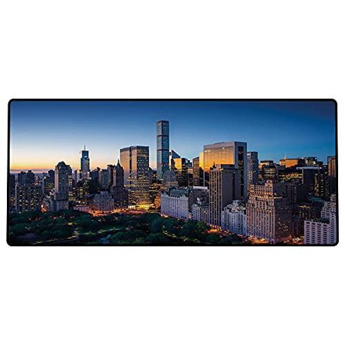 Alfombrilla de ratón para Juegos 600 x 300x3 mm,Ciudad, Sun Rising Over Central Park en Manhattan Tranquil Morning Rascacielos, Blue Marigold Dar Base de Goma Antideslizante, Adecuada para Jugadores