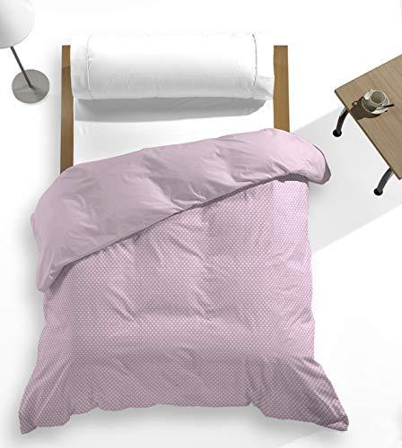 Catotex - Funda nórdica topitos Estampada + Lisa Reversible Trasera para edredón. 50% algodón 50% Poliester. Cama 150/160 cm Violet Ice. Modelo Luana