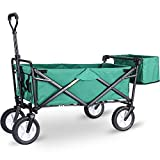 Product Image of the WHITSUNDAY Collapsible Folding Garden Outdoor Park Utility Wagon Picnic Camping Cart 8' Wheels with Rear Storage (Standard Size with Rear Storage, Green)