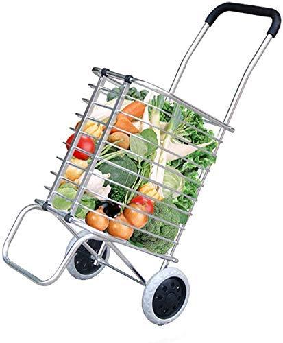 GUONING-L Rueda Flor soporte plegable Compras 2 Ruedas, plegable, Deslizar la compra, ligero Carrito de la compra, Escalada de la compra, carrito de la compra, L45xW38xH90cm, que soportan el peso de 2