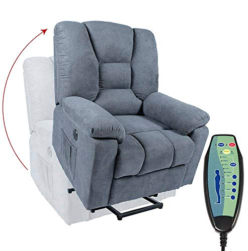 oneinmil Power Lift Chair, Lift Chairs Recliners for Elderly with Heated Vibration Massage Recliner with Side Pockets, USB Charge Port & Massage Remote Control, Blue Grey
