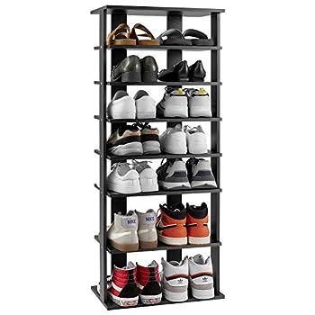 Kealive Wooden Shoe Rack 7 Tiers Vertical Freestanding Shoe Tower Organizer Entryway Storage Stand Space Saving Shoe Rack Modern Tall Storage Shelf Black Double Size