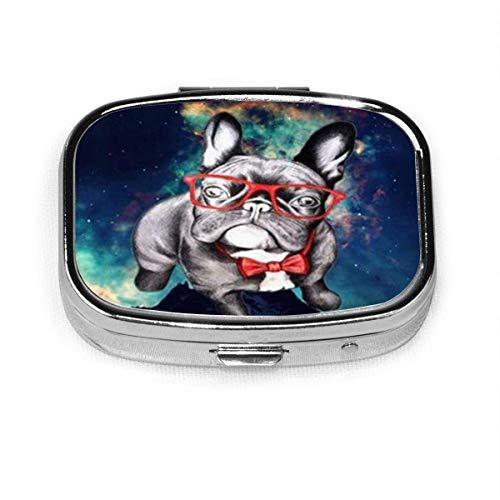Divertido Bulldog francés con cristal personalizado a la moda, caja de pastillero cuadrada de plata, soporte para tableta medicinal, cartera organizador para bolsillo o bolso