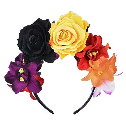 Ydhsja - Diadema para mujer mexicana con diseo de flor y flor para el da de los muertos de Halloween
