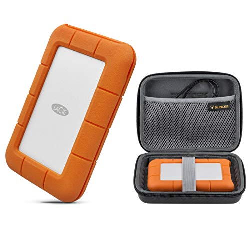 LaCie Rugged Thunderbolt USB-C 4TB Portable External Hard Drive HDD USB 3.0 Compatible for Mac and PC (STFS4000800), with Slinger Hard Drive Case