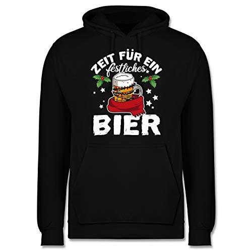 Weihnachten & Silvester - Zeit für EIN festliches Bier - weiß - XXL - Schwarz - Silvester Outfit Herren - JH001 - Herren Hoodie und Kapuzenpullover für Männer