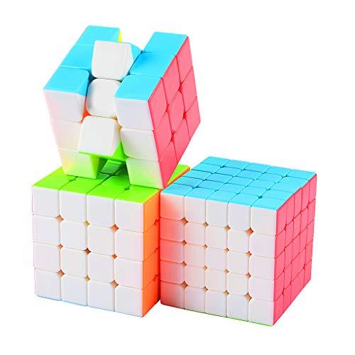 TOYESS Speed Cube Set Stickerless, Cubo de Velocidad 3x3 Stickerless+Cubo Mágico 4x4+Speed Cube 5x5, Rompecabezas Puzzle Juguetes para Adulto & Niños(3 Pack)