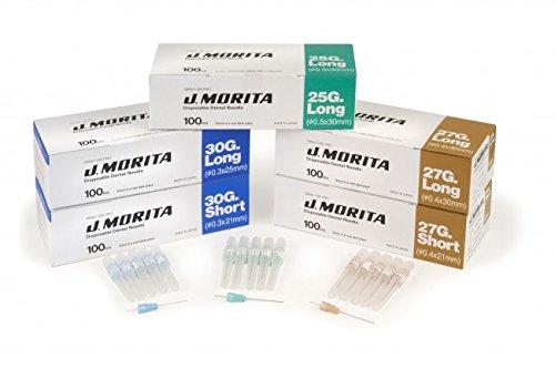 Morita 20-30GS Dental Needle, Disposable, 30 Gauge Short, Plastic (Pack of 100)