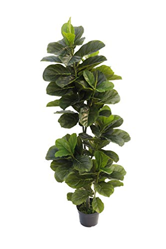 BEGONDIS 5-Feet Artificial Fiddle Leaf Fig Tree, Green Fake Plants for Home and Office Decor