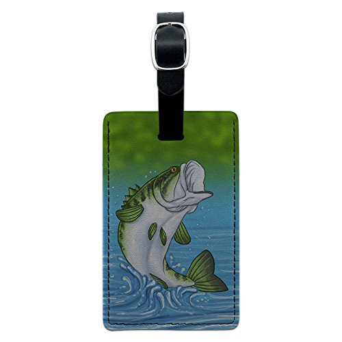 Graphics & More Bass Fishing Jumping Out of Water Leather Luggage Id Tag Suitcase, Black