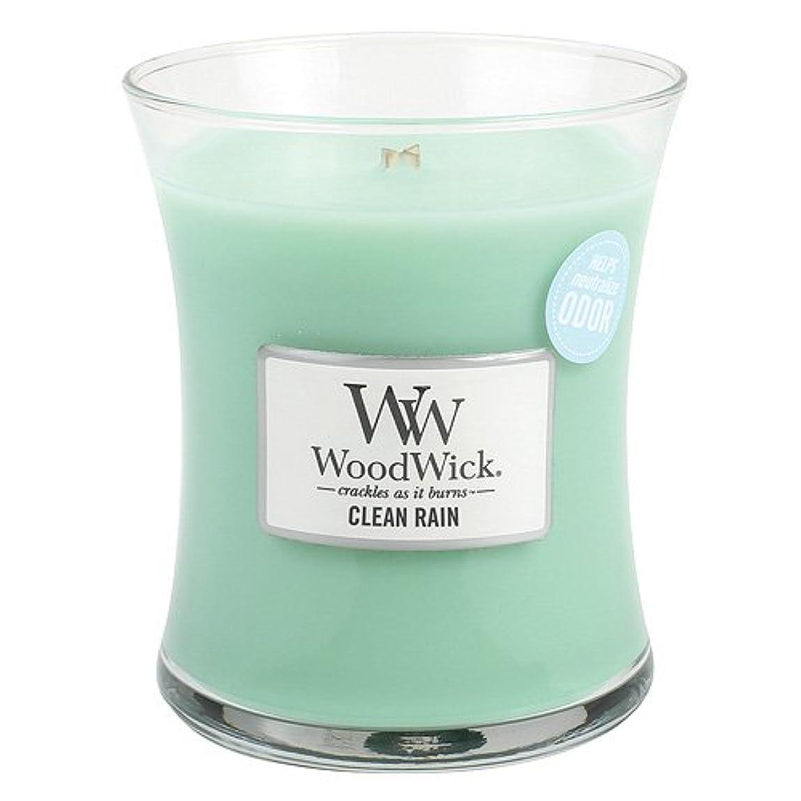 状態宮殿先のことを考えるクリーン雨WoodWick ODOR NEUTRALIZING 9.7オンス香りつきJar Candle