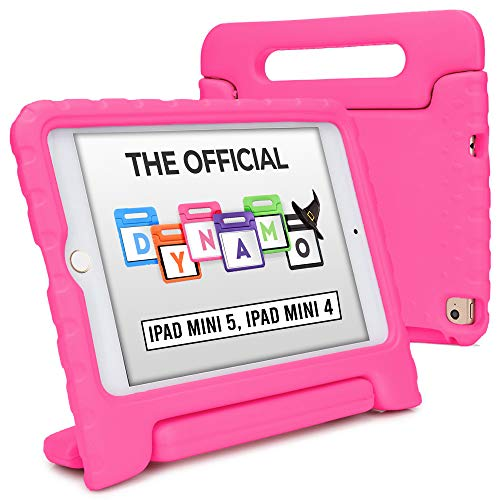 Cooper Dynamo [Rugged Kids Case] Protective Case for iPad Mini 5 4 | Child Proof Cover with Stand, Large Handle, Screen Protector (Pink)