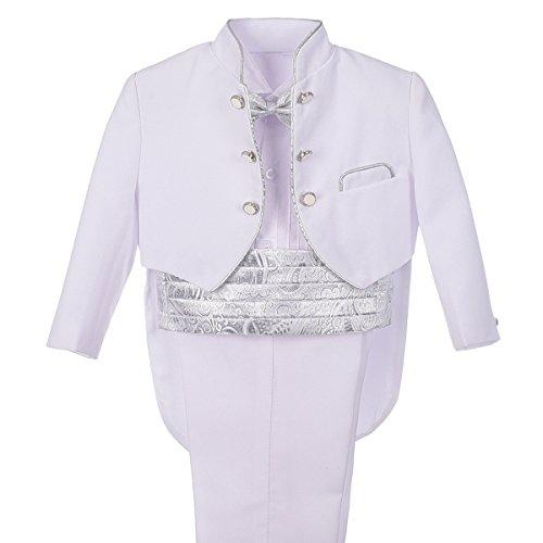 Lito Angels Conjunto de 5 piezas traje vestir para niños bebé, esmoquin blanco para boda, fiesta formal, ceremonia y ocasión especial (con fajín plateado y pajarita) 12 a 18 meses