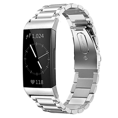 Shangpule Compatible for Fitbit Charge 3 / Fitbit Charge 4 / Fitbit Charge 3 SE Bands, Stainless Steel Metal Replacement Strap Wrist Band Compatible for Charge 3 Fitness Tracker Large Small (Silver)