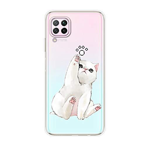 Herbests Kompatibel mit Huawei P40 Lite Hülle Silikon Case Transparent Silikon Schutzhülle mit Tiere Muster Ultradünn Stoßfest Rückschale Tasche Crystal Clear Soft Case,Weiß Katze