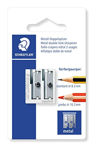 Staedtler 510 20 BKDST Afilalápiz Doble de Acero Inoxidable, Blíster con 1 Sacapuntas de Metal