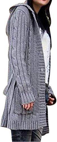 Unbekannt Damen Strickjacke lang mit Kapuze Cardigan Kapuzenpullover Grobstrick Mantel (Grau)