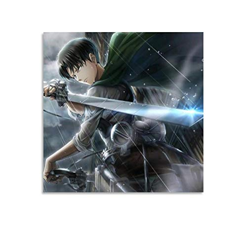Póster de anime Attack on Titan Guapo Levi Ackerman en lienzo y arte de pared, impresión moderna para decoración de dormitorio familiar