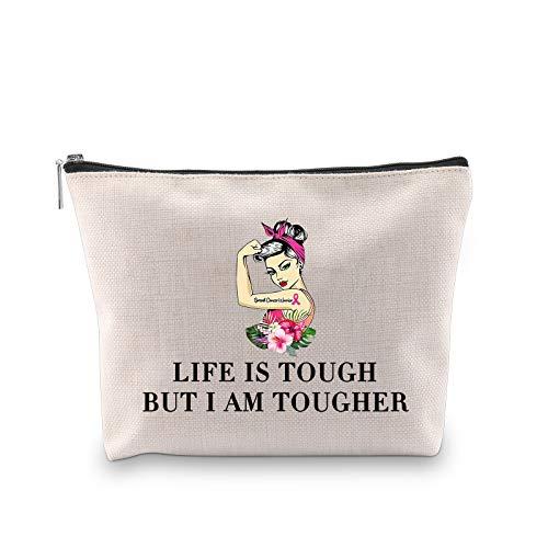 Novelty Life Is Tough But I Am Tougher - Bolsa de maquillaje inspiradora para mujeres hermana e hija (I AM TOUGHER EU)