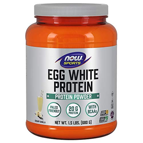 NOW Sports Nutrition, Egg White Protein, 20 G With BCAAs, Creamy Vanilla Powder, 1.5-Pound