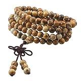 KYEYGWO 108 Gebet Mala Perlen Armband für Damen Herren, 6mm Tibetisch-buddhistischen Heilstein Halskette für Unisex, Picture Jaspis