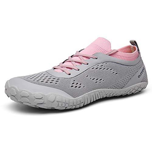 CAGAYA Damen Straßenlaufschuhe Trekkingschuhe Herren Outdoor Sport Barfußschuhe Unisex Minimalistische Laufschuhe Traillaufschuhe Knit Sneaker Fitnessschuhe im Sommer Gr.36-47 (Rosa, Numeric_38)
