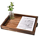 Rustic Wooden Serving Tray with Handles,Coffee Table Tray, Stylish Farmhouse Decor Serving Platter, Nesting Serving Trays - for Breakfast and Home Use, Coffee Table/Butler Serving Trays