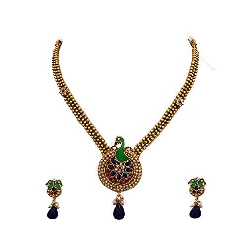 JewelryGift Juego de collar étnico de pavo real con pendientes chapados en oro de 18 quilates, esmeralda, cristal azul, perla tachonada étnica india, joyería de diseñador para mujeres y niñas