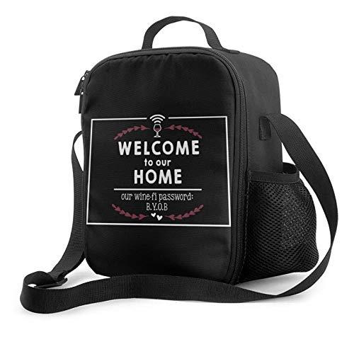 Lawenp Welcome Wine-fi Password BYOB Bolsa de almuerzo aislada, bolsa de almuerzo plana a prueba de fugas con correa para el hombro para hombres y mujeres, adecuada para el trabajo y la oficina